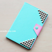 iPad mini case - Silver Pyramid Studded on Mint iPad mini case, 4 colors for you choose