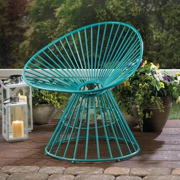 Teal Blue Metal Patio Lounge Chair
