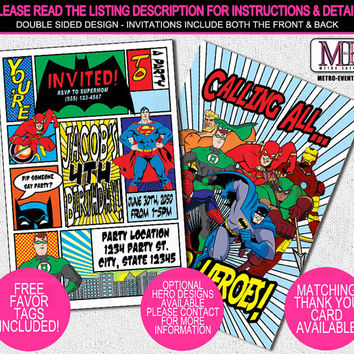 Super Hero Birthday Invitations, Super Hero Invitations, Superhero Invitation, Hero Invitation, Super Hero Party, Comic Invitation, Invite