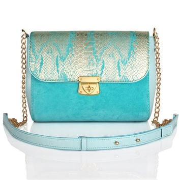 Turquoise suede leather woman shoulder bag, turquoise suede leather woman shoulder purse by Katerina Fox