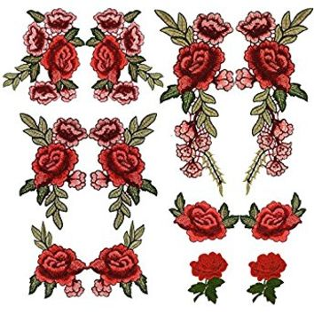 Red Rose Flowers Patch Embroidered Floral Applique Sew on Patches For Lace Fabric Clothes DIY Craft Supply (1 Pair) By Jiaufmi