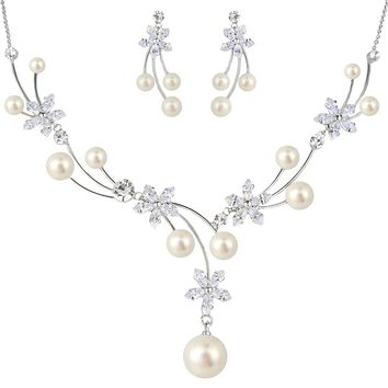 Women's CZ Simulated Pearl Flower Filigree Bridal Necklace Earrings Set Ivory Color