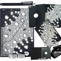 3D HEARTS GEMS BLING! iPad Mini Crystal & Rhinestone PU Leather Folio wi/Built-in Stand & Stylus