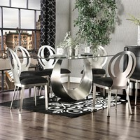 Furniture of america CM3726T 7 pc orla collection modern style satin plated metal and glass dining table with black fabric chairs