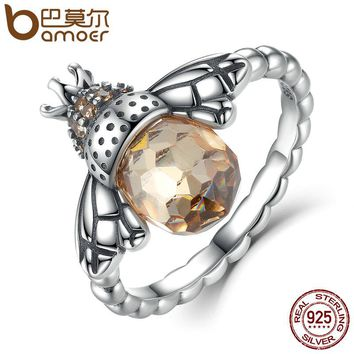 100% Authentic 925 Sterling Silver Orange Wing Animal Bee Finger Ring for Woman Sterling Silver Jewelry