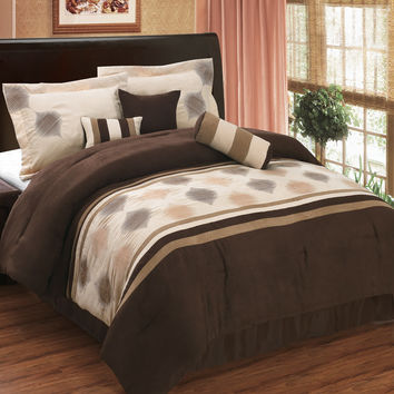 Grace Coffee 7-Piece Micro suede comforter set