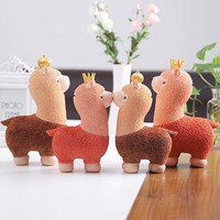 Resin Alpaca ornament Dolls Ornament Home Decoration Figure Animals Models Toys Children Birthday Gift #20