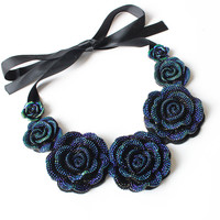 F&U Rose Necklace New Fashion Jewelry Big Resin Crystal Blue Flower Necklaces & Pendants Statement Bib Chunky Choker Necklaces