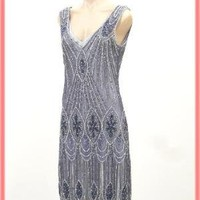 20's Style Silver Beaded Sequined Flapper Dress-Art Deco Style Dresses