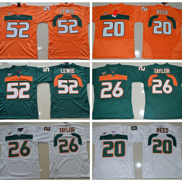 2016 Youth Miami Hurricanes Jersey 20 Ed Reed 26 Sean Taylor 52 Ray Lewis Kids College Football Jerseys Team Color Orange Green White