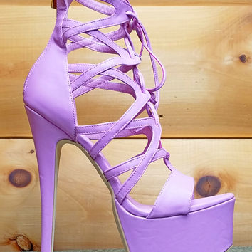 "Pachanga Lavender Purple Lilac Strappy Lace Up Platform Sandal Shoes - 7"" Heels"
