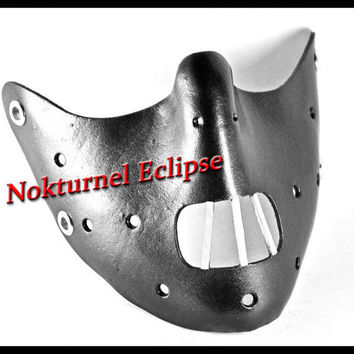 Black Hannibal Lecter Leather Mouth Restraint by NokturnelEclipse