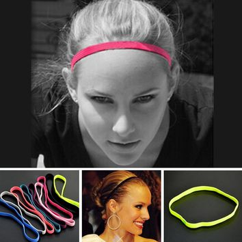 2 Pcs Women Colored Sweatbands Football Yoga Pure Hair Bands Anti-slip Elastic Rubber Thin Sports Headband Men Hair Accessories