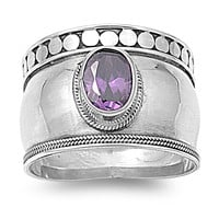 925 Sterling Silver CZ Bali Simulated Amethyst Ring 9MM