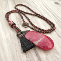 Long Tassel Necklace, Dark Brown Wood Beads, Black and Red, Charm Cluster