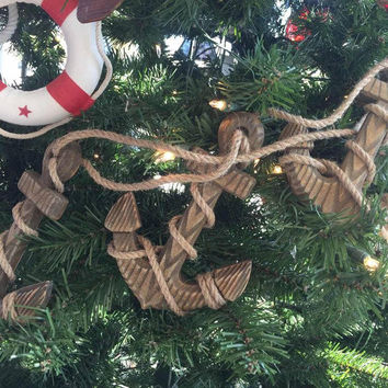 Wooden Rustic Decorative Triple Anchor Christmas Ornament Set 7""