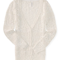 Aeropostale Womens Sheer Open-Knit Boyfriend Cardigan