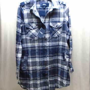 Inso Collection Women's Flannel Button Down Tunic Top Navy Blue Plaid Size L