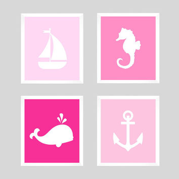 Nautical Prints, Nautical Decor, Sealife Prints, Seahorse Print, Nursery Decor, Whale Print, Anchor Print,  Wall Art, CUSTOMIZE YOUR COLORS