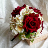 Best quality velvet and silk flowers roses hydrangea vintage wedding bouquet cream burgundy Flowers, satin ribbon, Bride, winter elegant