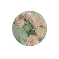 "Cristina Mitchell ""Pink Romance"" Teal Blush Ceramic Circle Ornament"