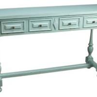 One Kings Lane - Blues  Greens - 2-Drawer Console Table, Powder Blue