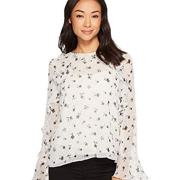 CeCe Long Sleeve Dotty Silhouettes Ruffled Blouse