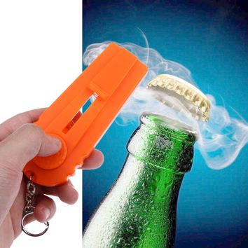 Flying Cap Zappa Bottle Openers Beer Cap Launcher Shooter Hat Fire Cap Key Ring Corks Bar Kitchen Tools