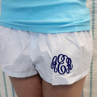 Personalized Women's Seer Sucker Pajama Shorts with Circle Monogram
