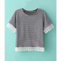 LUCLUC Black and White Striped Lace Panel T-Shirt - LUCLUC