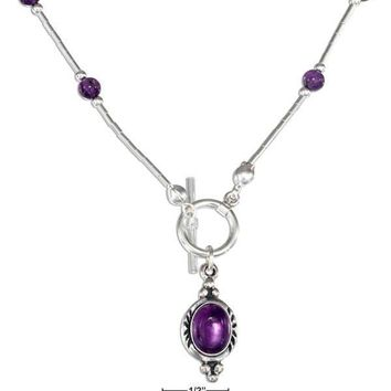 "Sterling Silver Necklaces: 16"" Amethyst Beaded Liquid Silver Toggle Necklace"