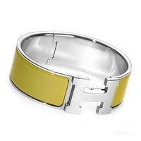 New Authentic Hermes H Clic-Clac Bangle In Olive Green With Silver Hardware