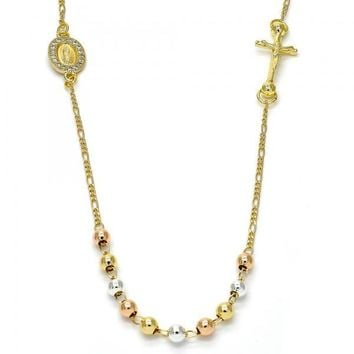 Gold Layered 04.253.0002.20 Fancy Necklace, Crucifix and Guadalupe Design, with White Micro Pave, Polished Finish, Tri Tone