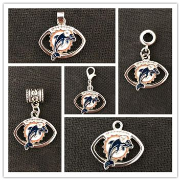 Football Sports Miami Dolphins Charm Dangle Hanging Charms DIY Jewelry Accessory Bracelet Necklace Pendants Charm 20pcs/lot