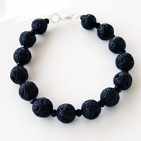 Black lava beaded bracelet unique affordable christmas gift