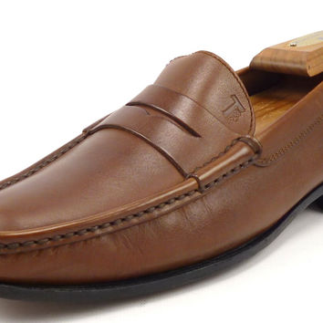 Tods Men's Shoes 6.5, 7.5 US Leather Strap Loafers Brown