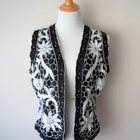 80s/90s Black & White Beaded Sequin Vest // Glass beads, Pearls // Floral, Honeycomb // Hipster Glam, Hip Hop Swag, Boho Goth Festival Vibez
