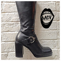 Vintage 90s Firee  Steve Madden leather boots / chunky heel / tall  / black / Square toe / 8.5 US / buckle /goth / high heels