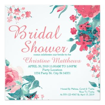 Coral Floral, Bridal Shower Invitations