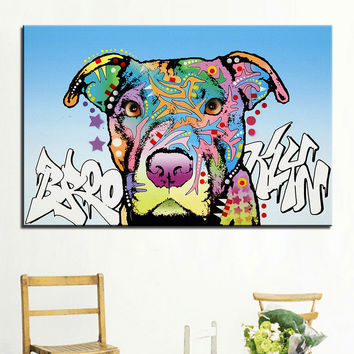 Large size Print Oil Painting Wall painting brooklyn pit bull dog Home Decorative Wall Art Picture  Living Room paintng No Frame