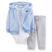 3-Piece Hooded Cardigan & Pant Set