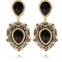 BLACK GEM STONE DROP EARRINGS