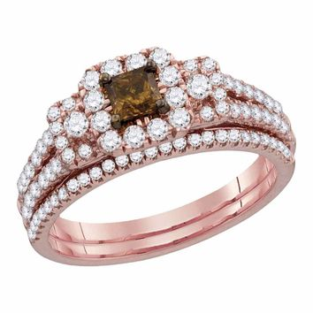 14kt Rose Gold Womens Cognac-brown Diamond Princess Halo Bridal Wedding Engagement Ring Band Set 1-1/12 Cttw