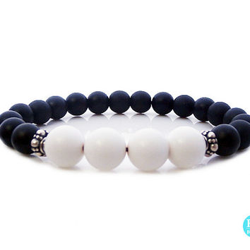 Men's Matte Black Onyx and White Jade Bracelet, Men's Matte Black Onyx and White Jade 925 Sterling Silver Bracelet