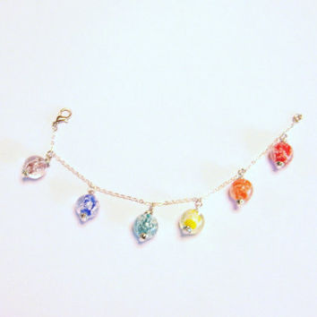 Rainbow Charm bracelet glow in the dark glass beads on silver plated brass chain with lobster claw clasp