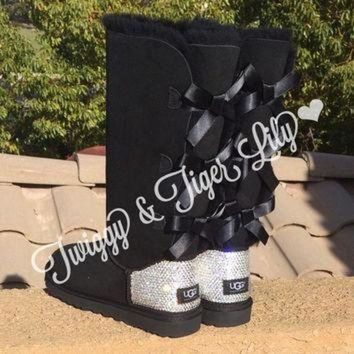 ICIK8X2 NEW - Black TALL Bailey Bow Uggs With Swarovski Crystal Bling Embellishment - Crystal