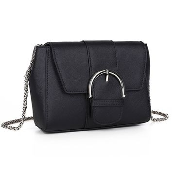 Genuine Leather Shoulder Bag for Women, VAKALEN Crossbody Bag Satchel Handbag with Metal Chain Strap
