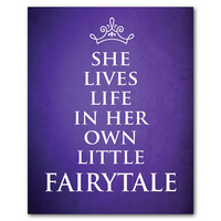She lives life in her own little fairytale - Nursery Art - Princess Tiara - Princess Crown - Nursery wall art - girl's room art
