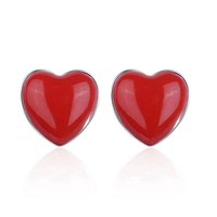 ac spbest PATICO Heart Stud Earring Lady Lovers Gifts 925 Sterling Silver Red Love Resin Stone Wedding Engagement Earring For Women Bridal