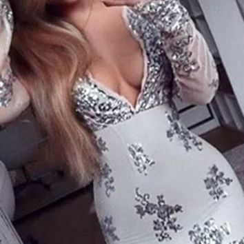 What I Want Grey Silver Long Sleeve Plunge V Neck Sequin Flower Bodycon Mini Dress